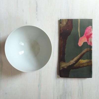Napkin Set:  Tree with Pink Flowers on Dark Grey