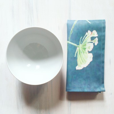 Napkin Set:  Queen Anne's Lace on Teal