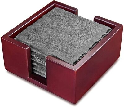 Slate Coasters Square, Set of 6 with Solid Wood Holder