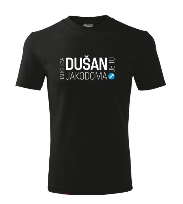 Tričko černé Talk show DUŠAN je tu JAKODOMA