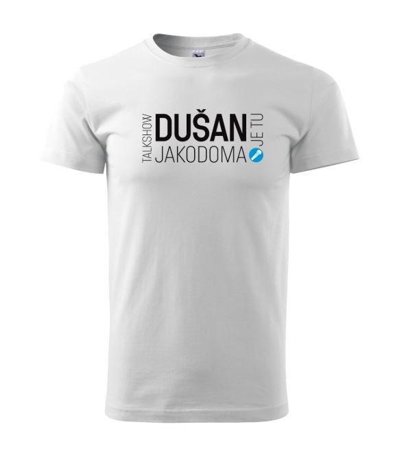 Tričko bílé Talk show DUŠAN je tu JAKODOMA