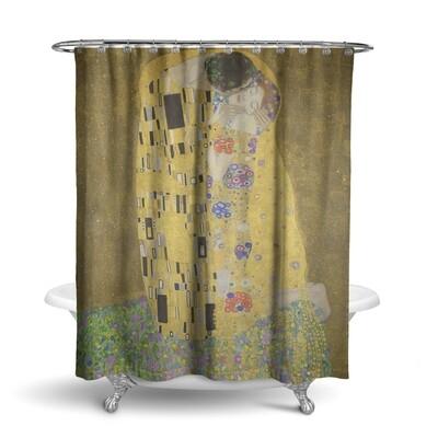 «Климт: золотой поцелуй» штора для ванной