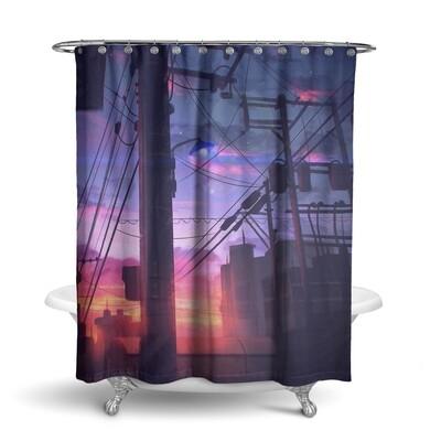 «Городской закат» штора для ванной