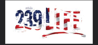 239Life American Flag Vinyl Window Decal