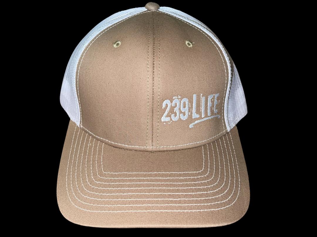 Khaki and White Logo Hat