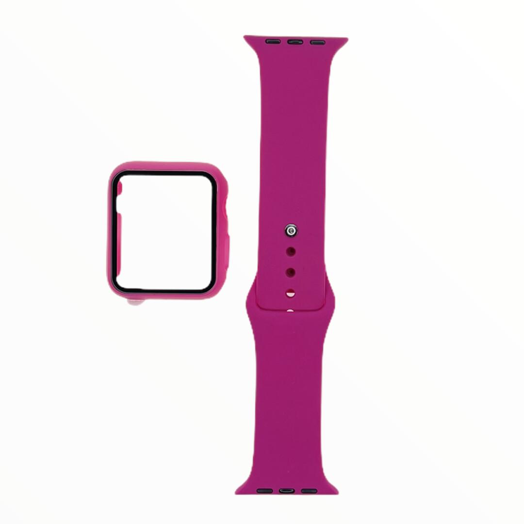 EL REY Pulsera + Bumper Con Protector De Pantalla Para  Apple Watch 42 Mm - Rojo rosa