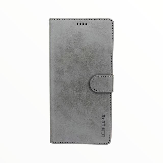 Estuche LC IMEEKE Libreta Con Porta Tarjeta Gris -  Samsung A21