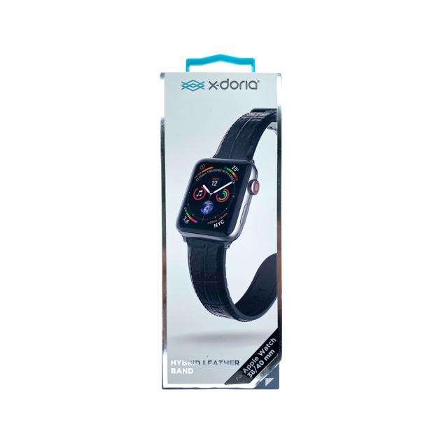 XDORIA Pulsera De Cuero Negro Croc Apple Watch 38 / 40 Mm