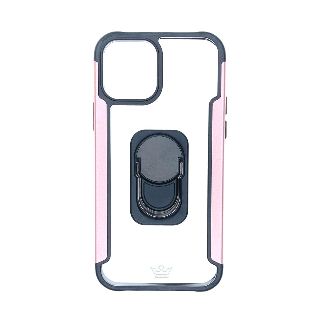Estuche EL REY Transparente y metal a los lados rosado con funcion de anillo IPHONE 12 / PRO 6.1