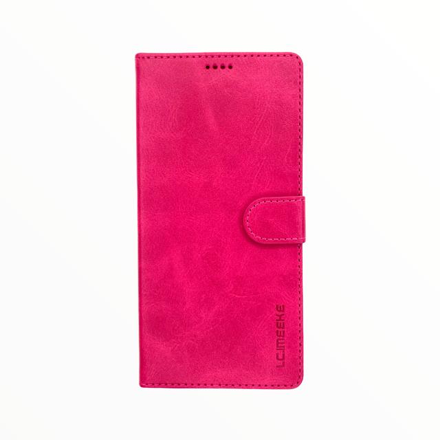 Estuche LC IMEEKE Libreta Con Porta Tarjeta Fucsia -  Samsung  Note10 Lite / A81