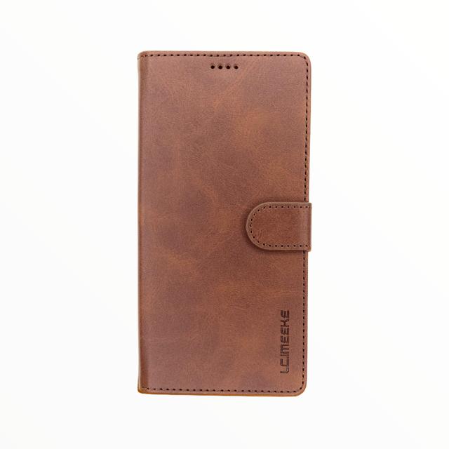 Estuche LC IMEEKE Libreta Con Porta Tarjeta Cafe Oscuro - Samsung Note 20