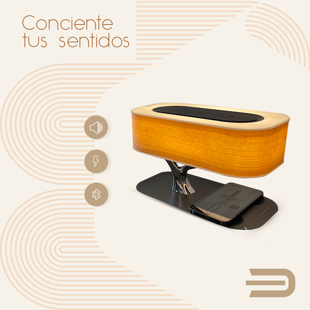 GEN Ecco Design lampara, cargador inalambrico y bocina bluetooth