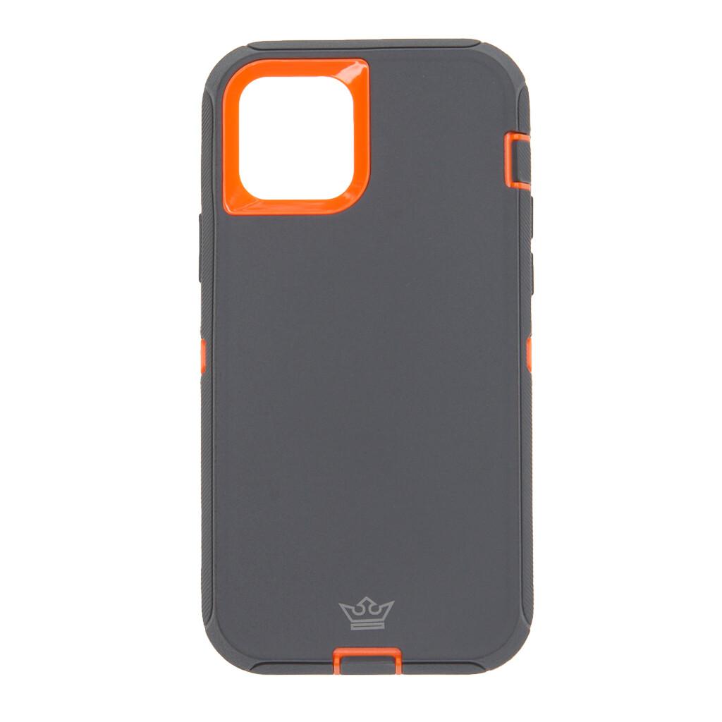 Estuche EL REY Defender Con Clip Gris Oscuro / Naranja - IPHONE 12 / PRO 6.1