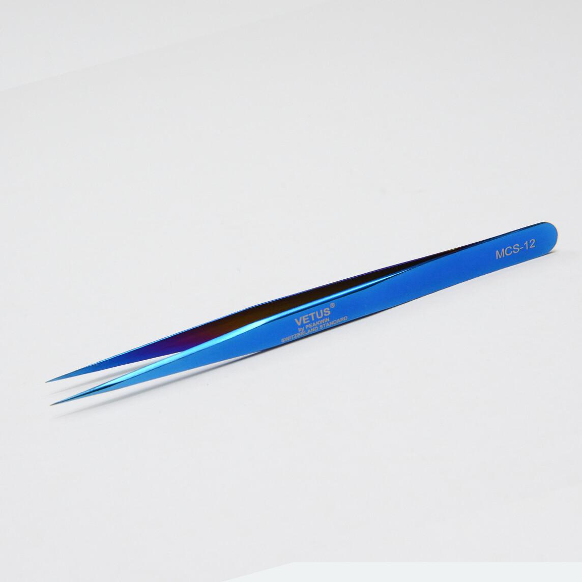 Pinzas ultra finas rectas azul VETUS