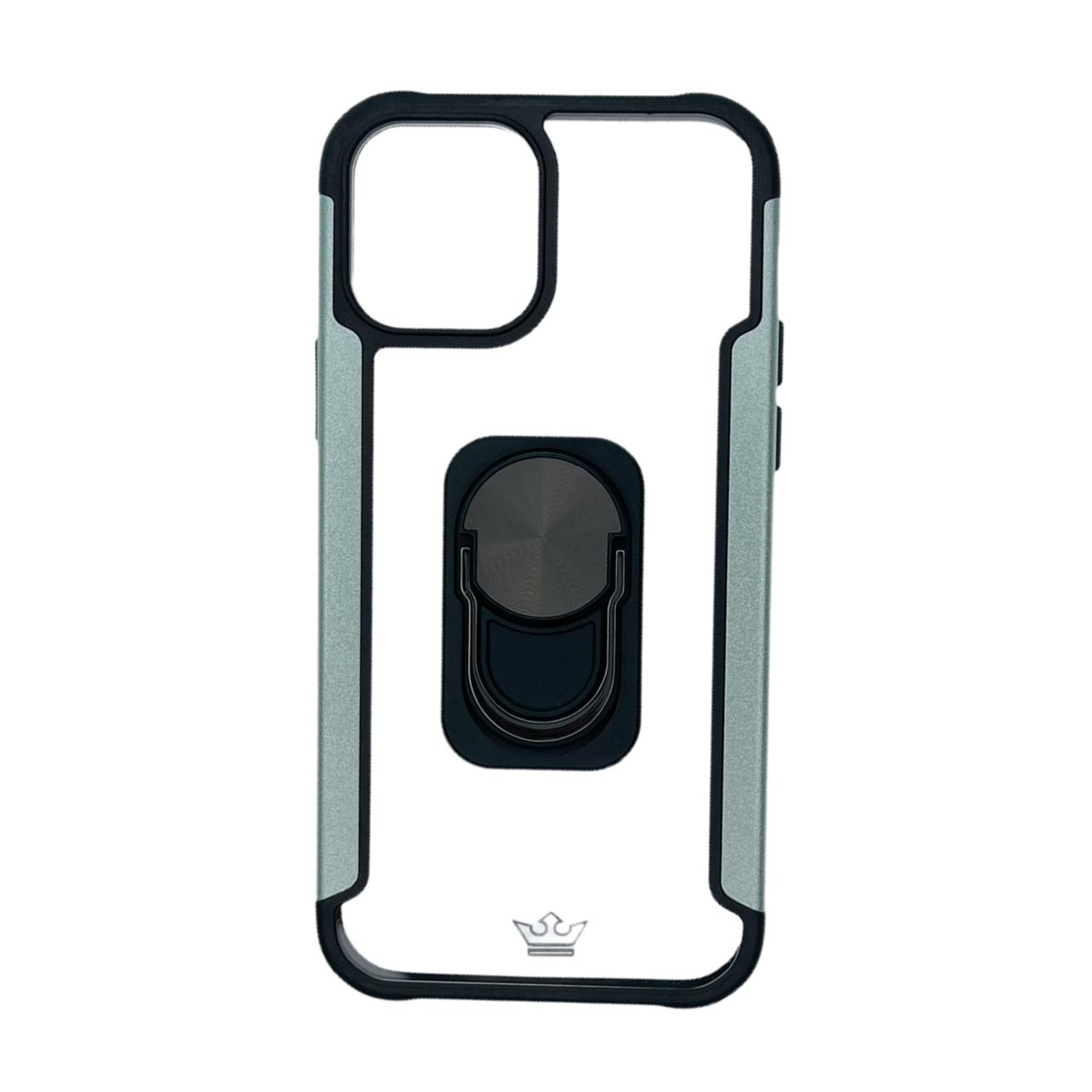 Estuche EL REY Transparente y metal a los lados gris con funcion de anillo IPHONE 12 / PRO 6.1