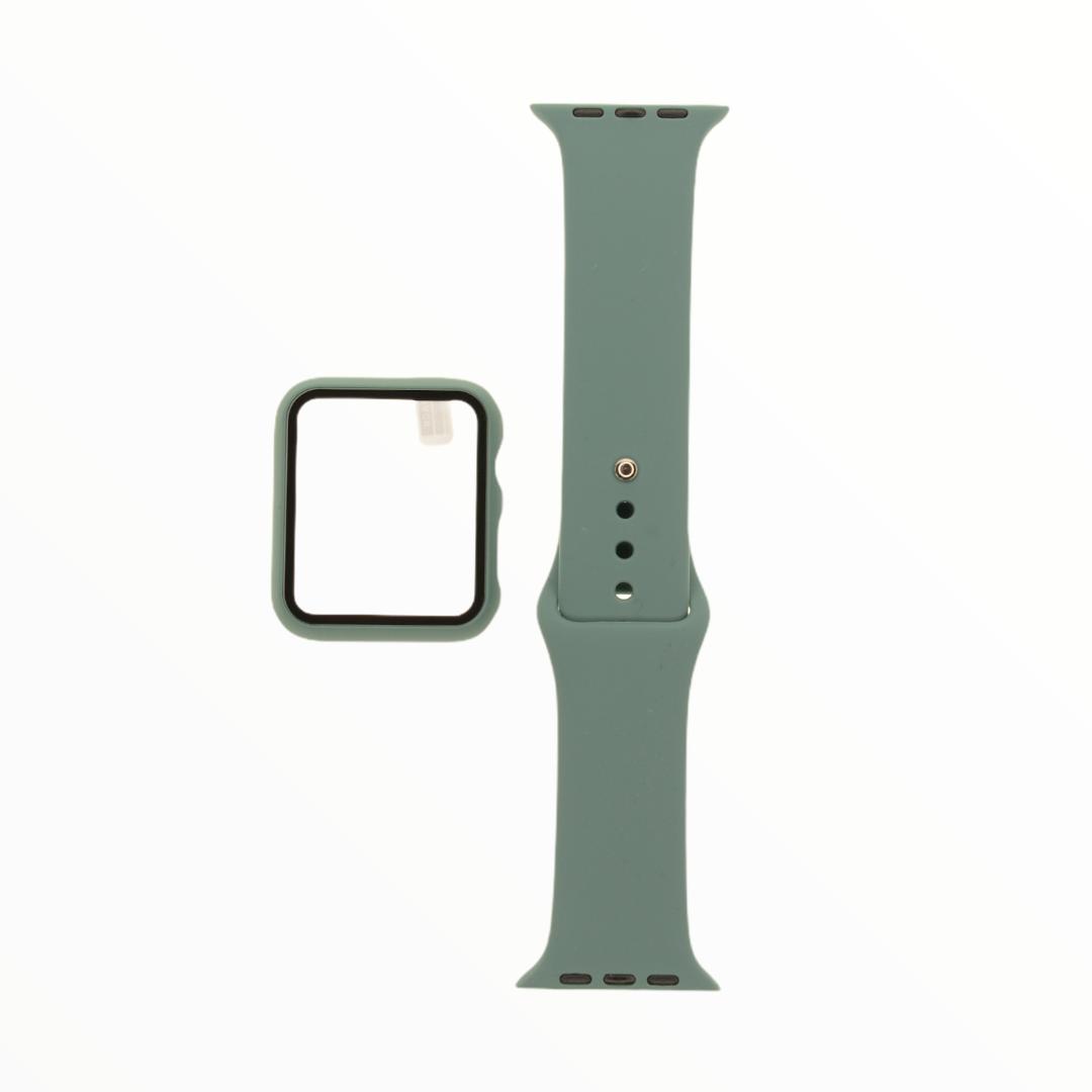 EL REY Pulsera + Bumper Con Protector De Pantalla Para  Apple Watch 38 Mm Color Verde Olivo