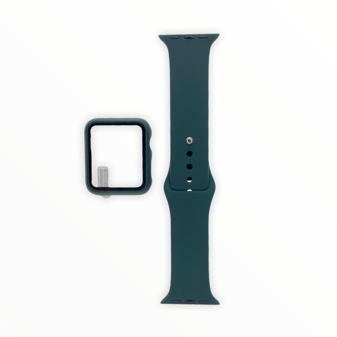 EL REY Pulsera + Bumper Con Protector De Pantalla Para  Apple Watch 38 Mm Color - Verde Musgo