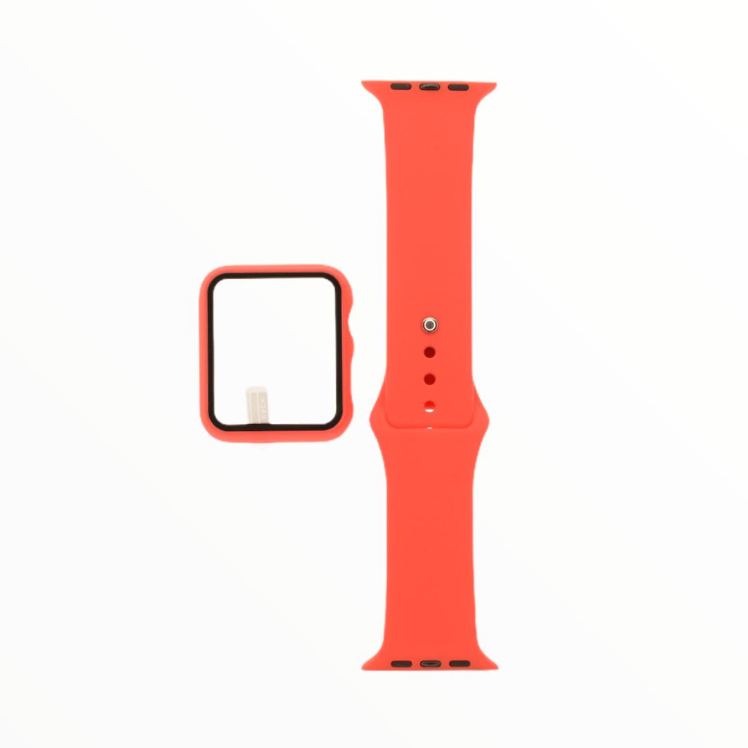 EL REY Pulsera + Bumper Con Protector De Pantalla Para  Apple Watch 42 Mm Rojo