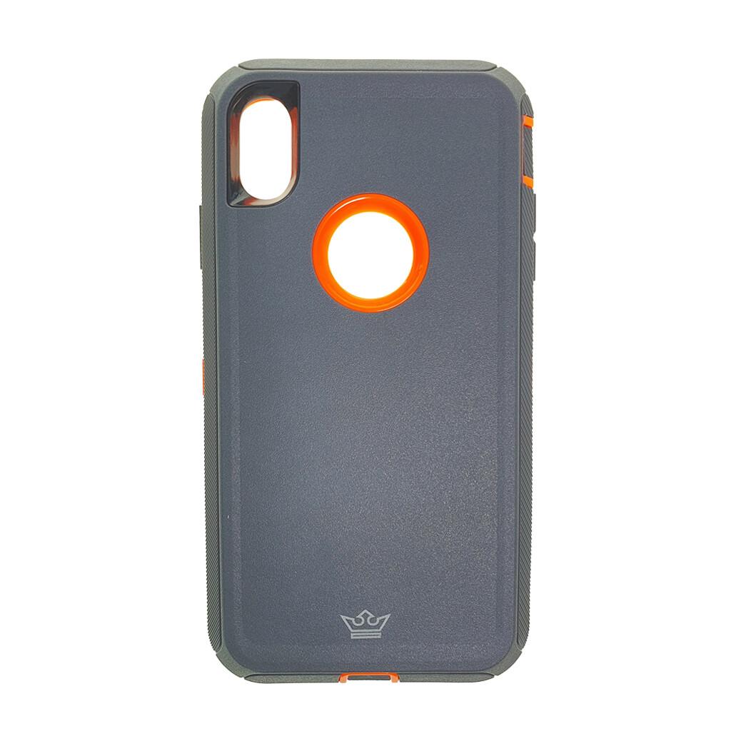Estuche EL REY Defender Gris / Naranja- IPHONE XS MAX (6.5)