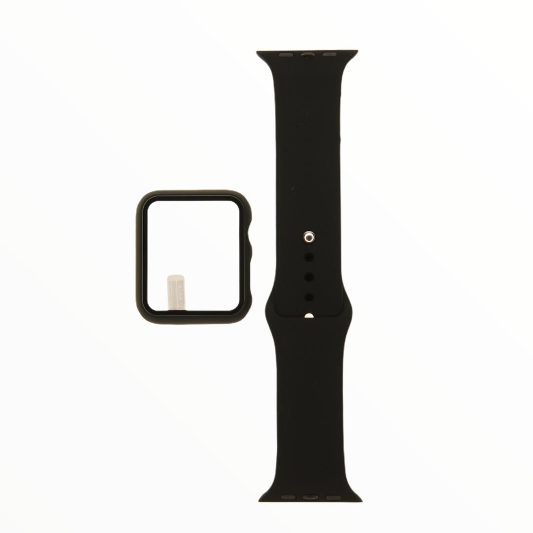 EL REY Pulsera + Bumper Con Protector De Pantalla Para  Apple Watch 42 Mm Negro