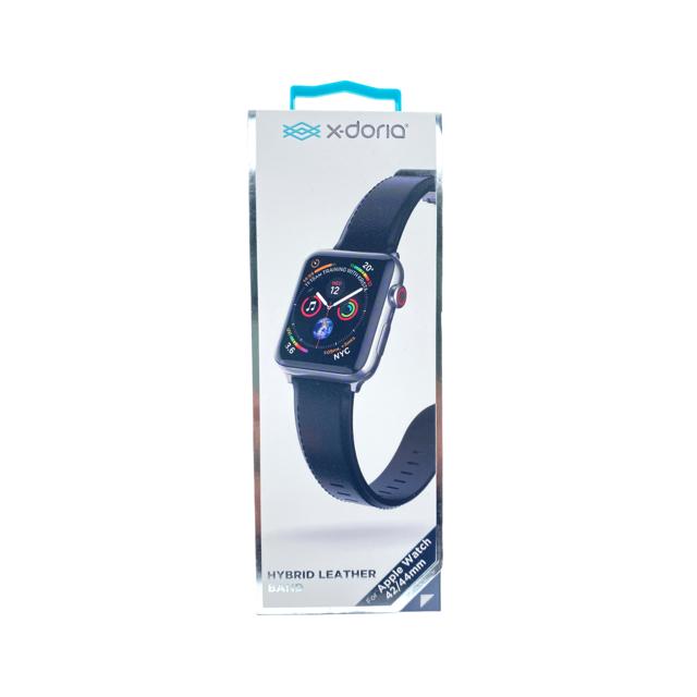XDORIA Pulsera De Cuero Negro Apple Watch 42 / 44 Mm