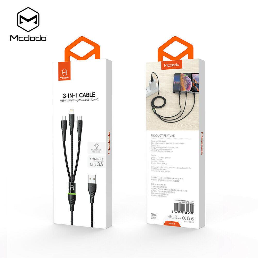 Cables MCDODO Cable 3 En 1  Micro Usb, Tipo C Y Lightining Gris Oscuro 1.2M Con Indicador Led