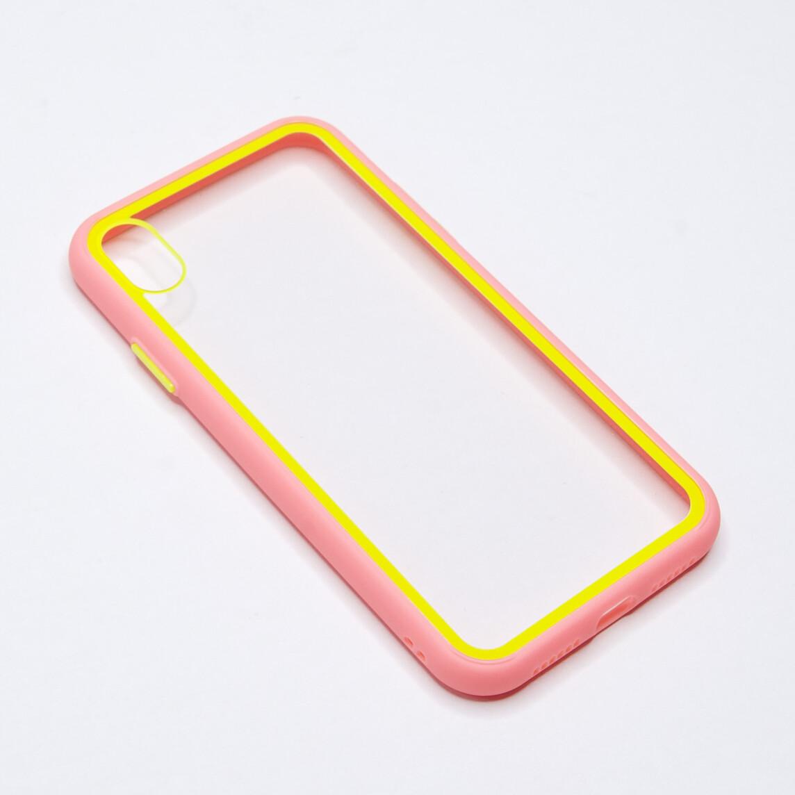 Estuche EL REY Marco De Color Rosado Y Parte De Atras Transparente - Iphone Xr