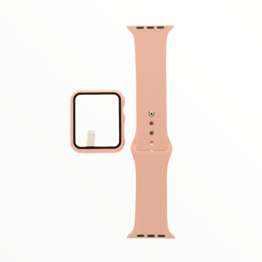 EL REY Pulsera + Bumper Con Protector De Pantalla Para  Apple Watch 44 Mm Color Palo Rosa