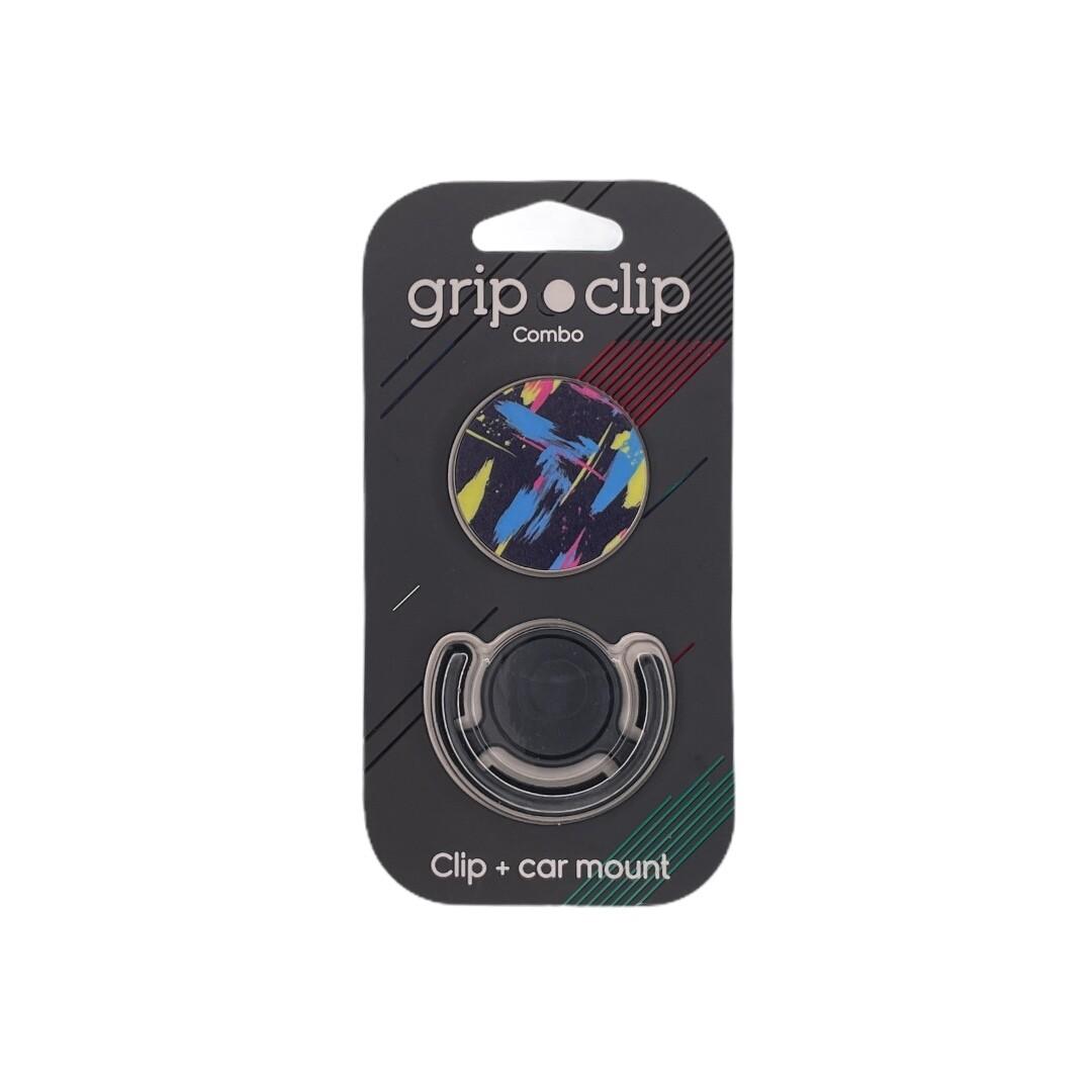 GRIP CLIP lineas azul , amarillo y fondo negro