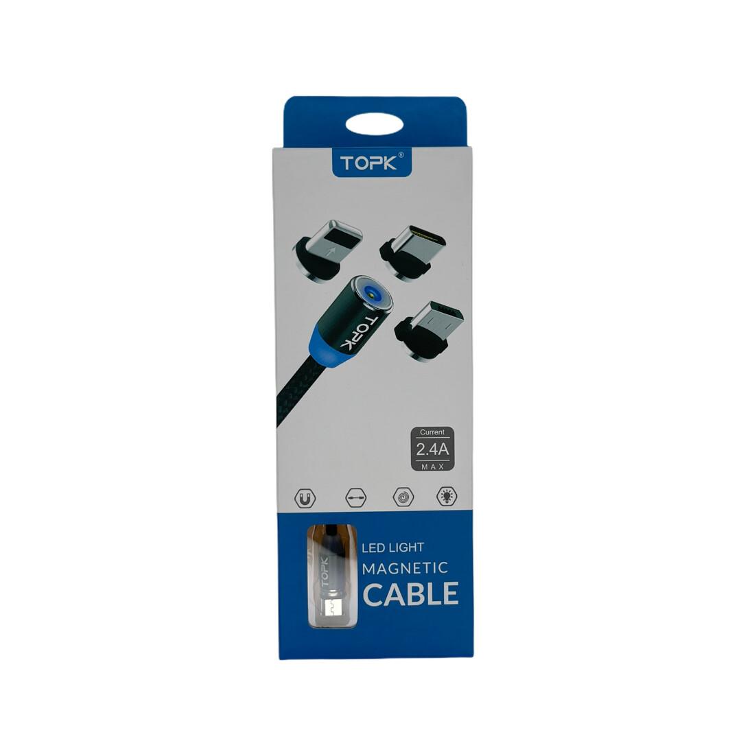 Cables TOPK Cable De 1 Metros Magnetico Micro + Lighting + Tipo C  - Negro