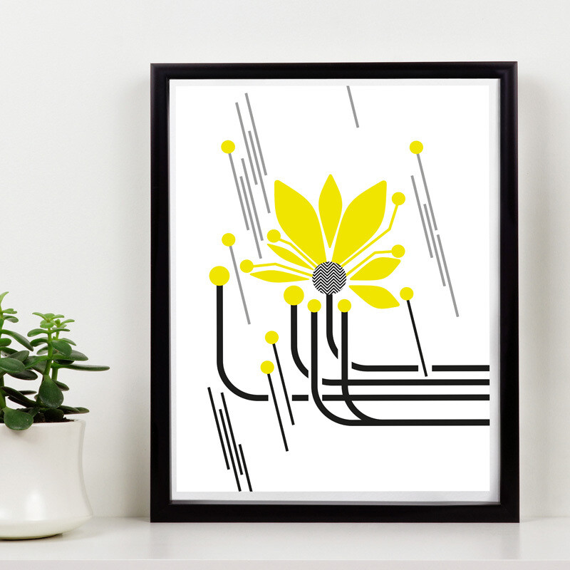 Yellow Flower Power  // 150 Limited Edition // Eco-conscious Framed Canvas //  8x12 in