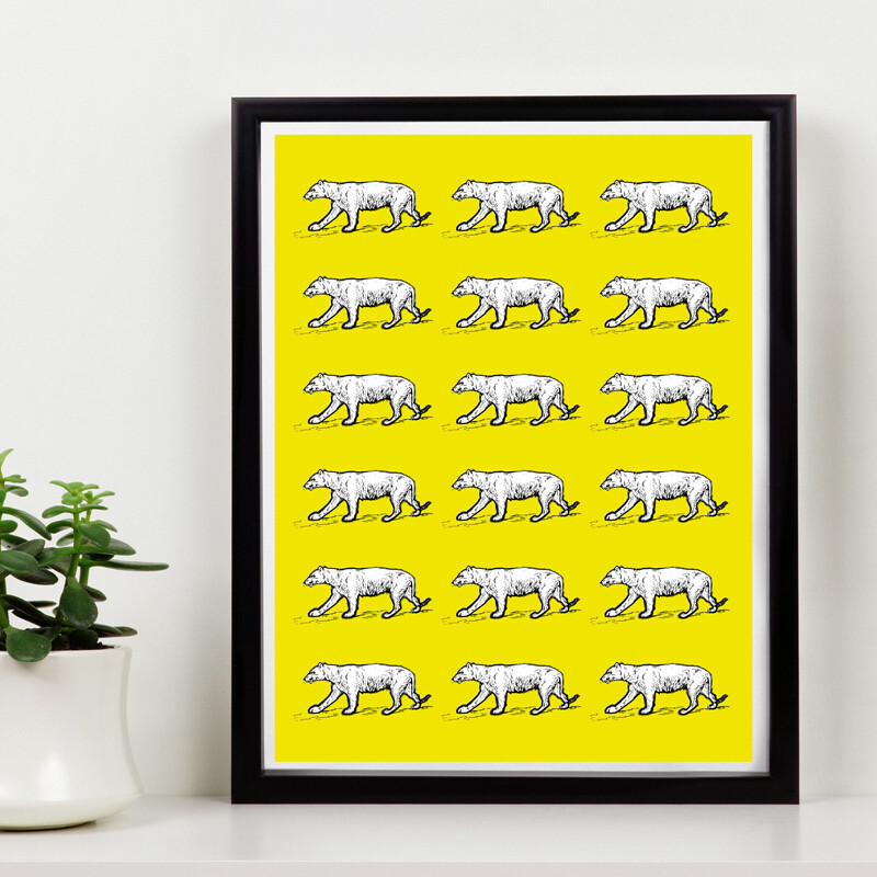 Yellow Tigers everywhere // 150 Limited Edition // Eco-conscious Framed Canvas //  8x12 in