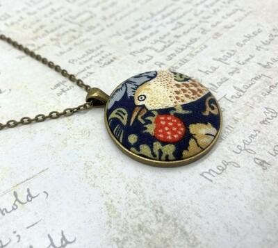 Strawberry Thief fabric button pendant William Morris style