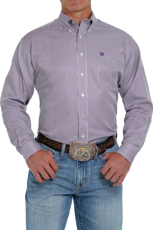 Cinch Men's Tencel Purple & White Stripe Button Down Shirt
