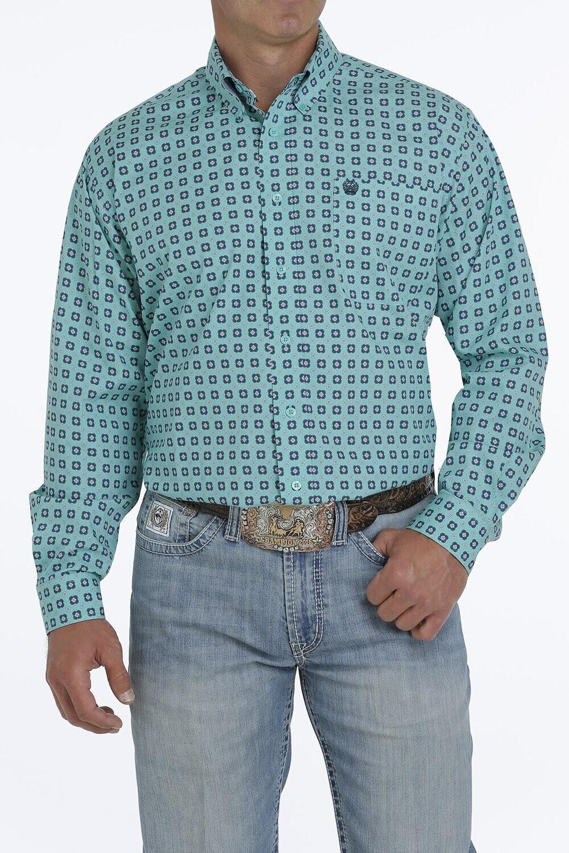 Cinch Men's Turquoise & Navy Medallion Print Button Down Shirt