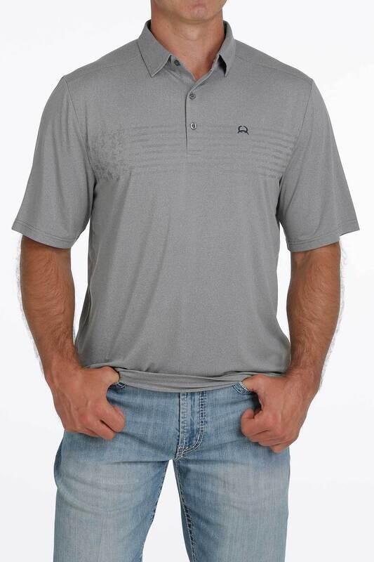 Cinch Men's Arenaflex Polo- Light Grey