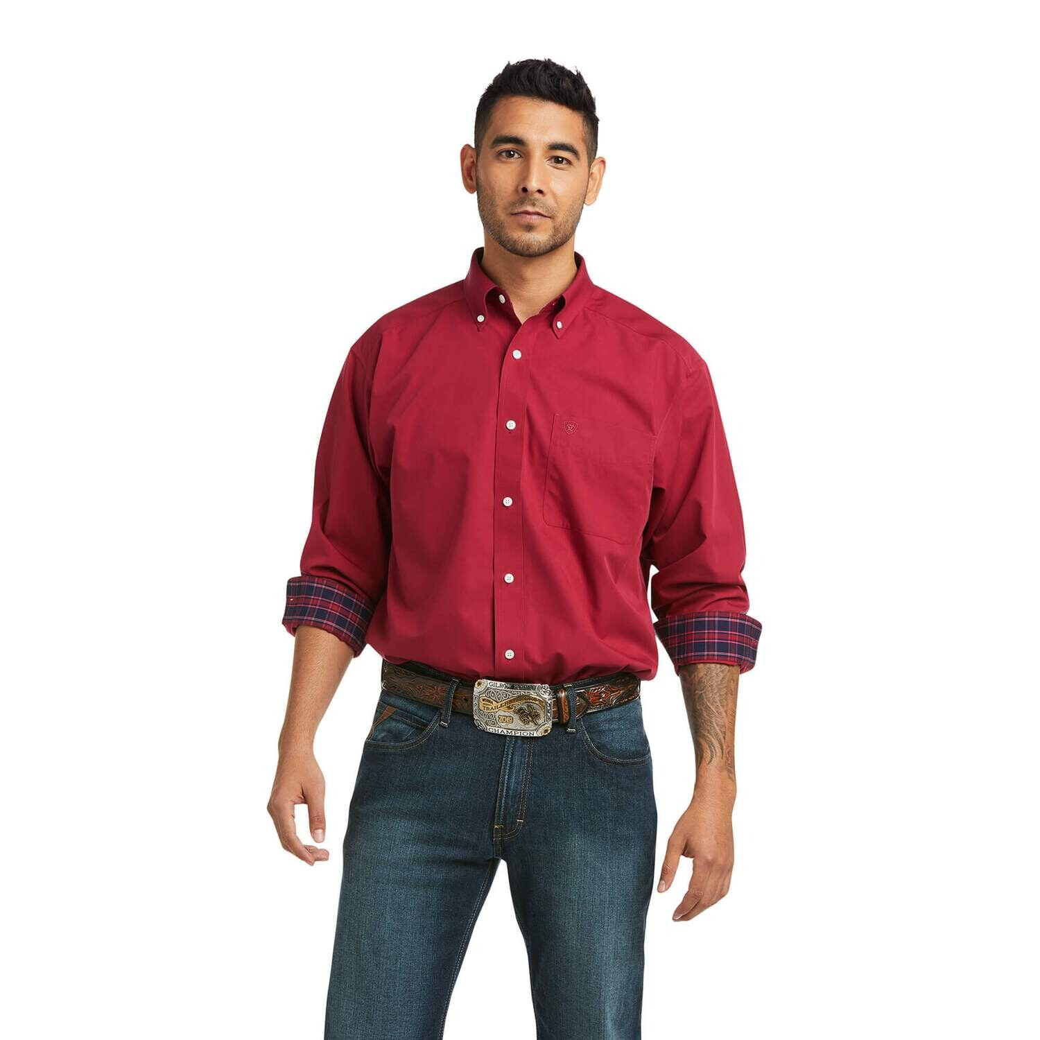 Ariat Men's Solid Classic Fit Button Down - Rubia Red