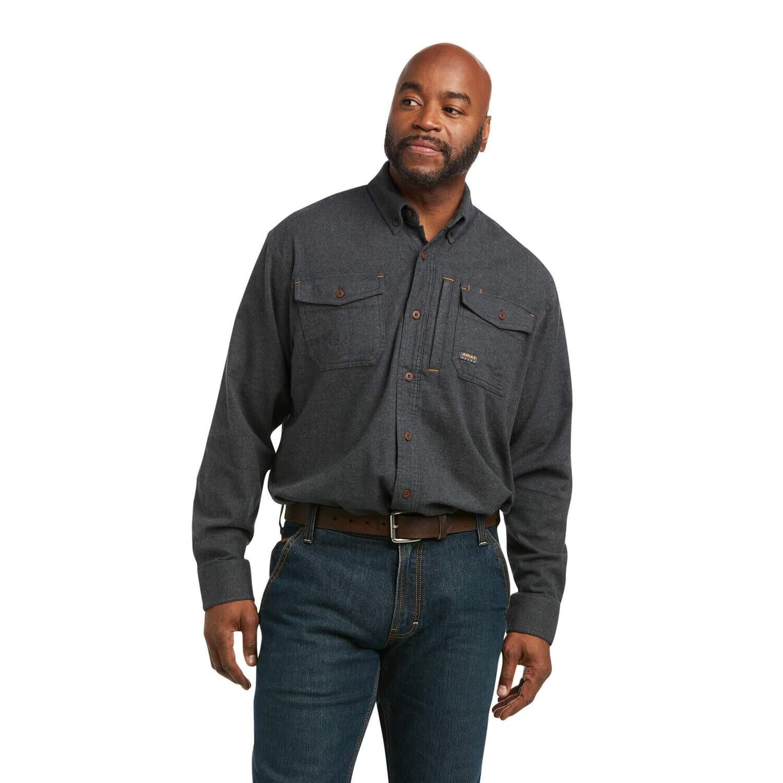 Ariat Mens Rebar Flannel DuraStretch Work Shirt - Charcoal Heather