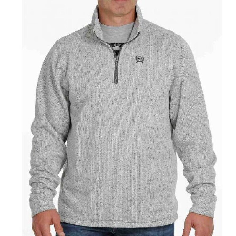 Cinch Men's 1/4 Zip Sweater - Grey Big and Tall