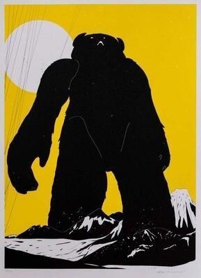 'Yeti Over Mount Fuji (Pantone Yellow)' Screenprint