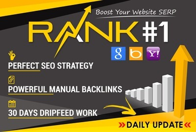 Rank Your Website on Google, 30 Days SEO Backlinks Manually for $210