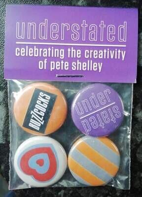Understated badge set by Malcolm Garrett