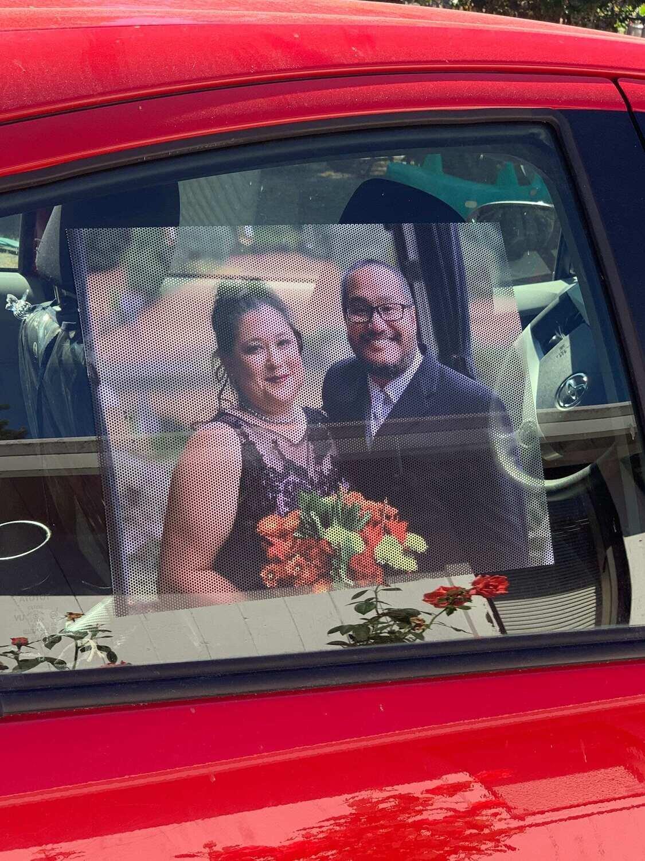 Custom car window shade, custom photo window shade, see through, photo window tinting, wedding gift, great for babies!