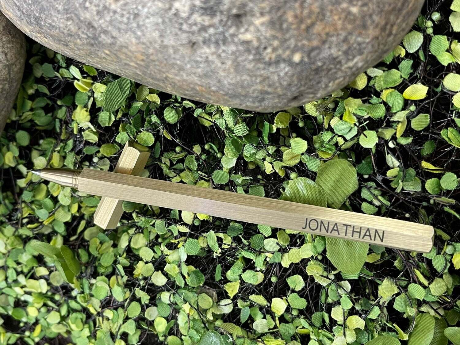 Handmade Minimalist Brass Hexagonal Pen Rollerball Custom Laser Engraved with Gift Pouch FREE Second Engraving Location!!