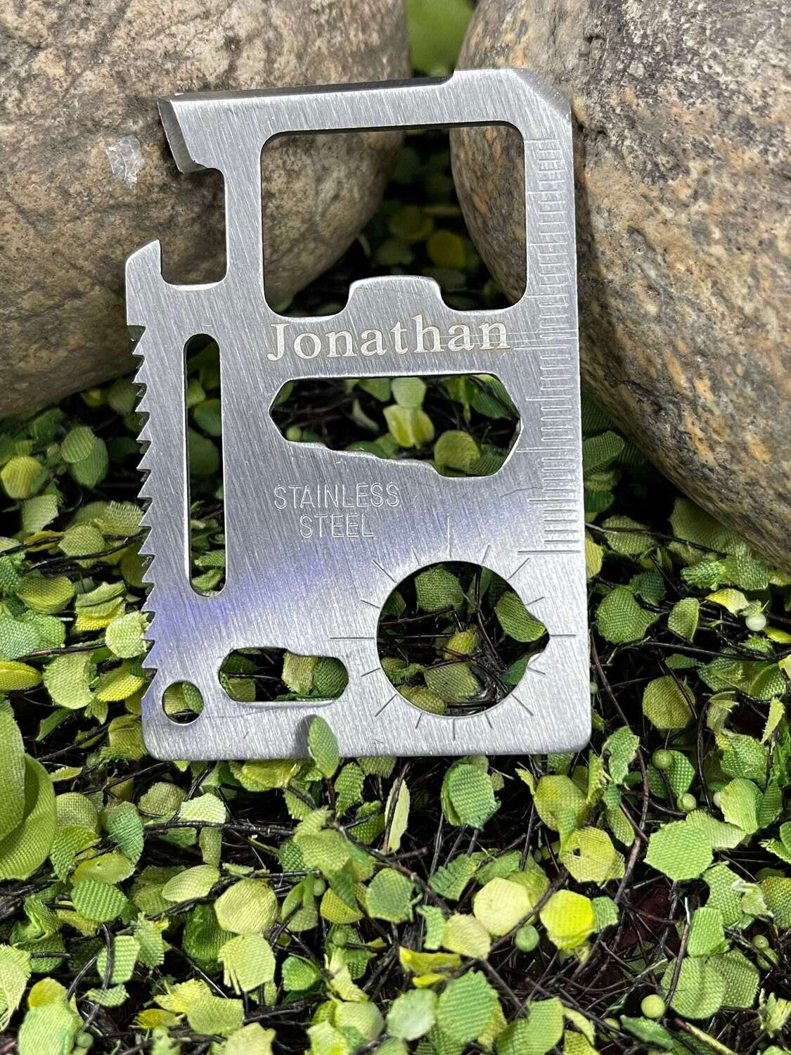 Groomsman gift, Personalized Survival Wallet Pocket Tool, Credit Card Size, Wedding Party, Bridal Party, Laser Engraved, Utility Tool