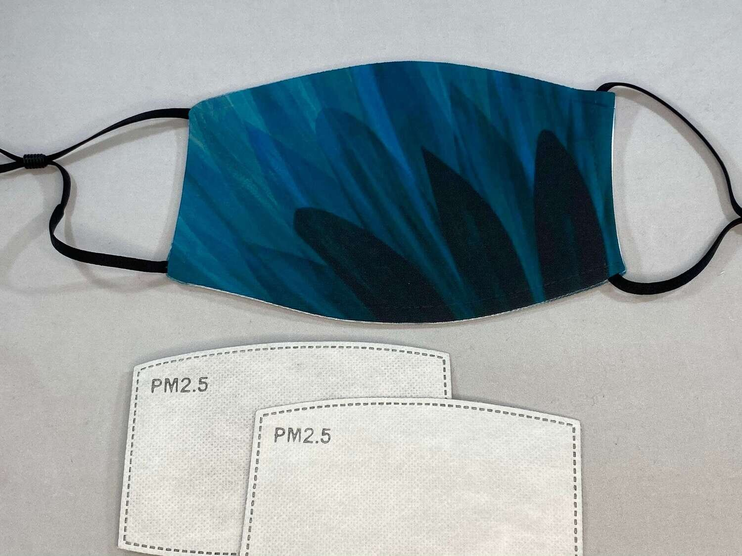 Teal Flower mask, custom photo face mask, face covering, mask, 2 FREE PM2.5 FILTERS!