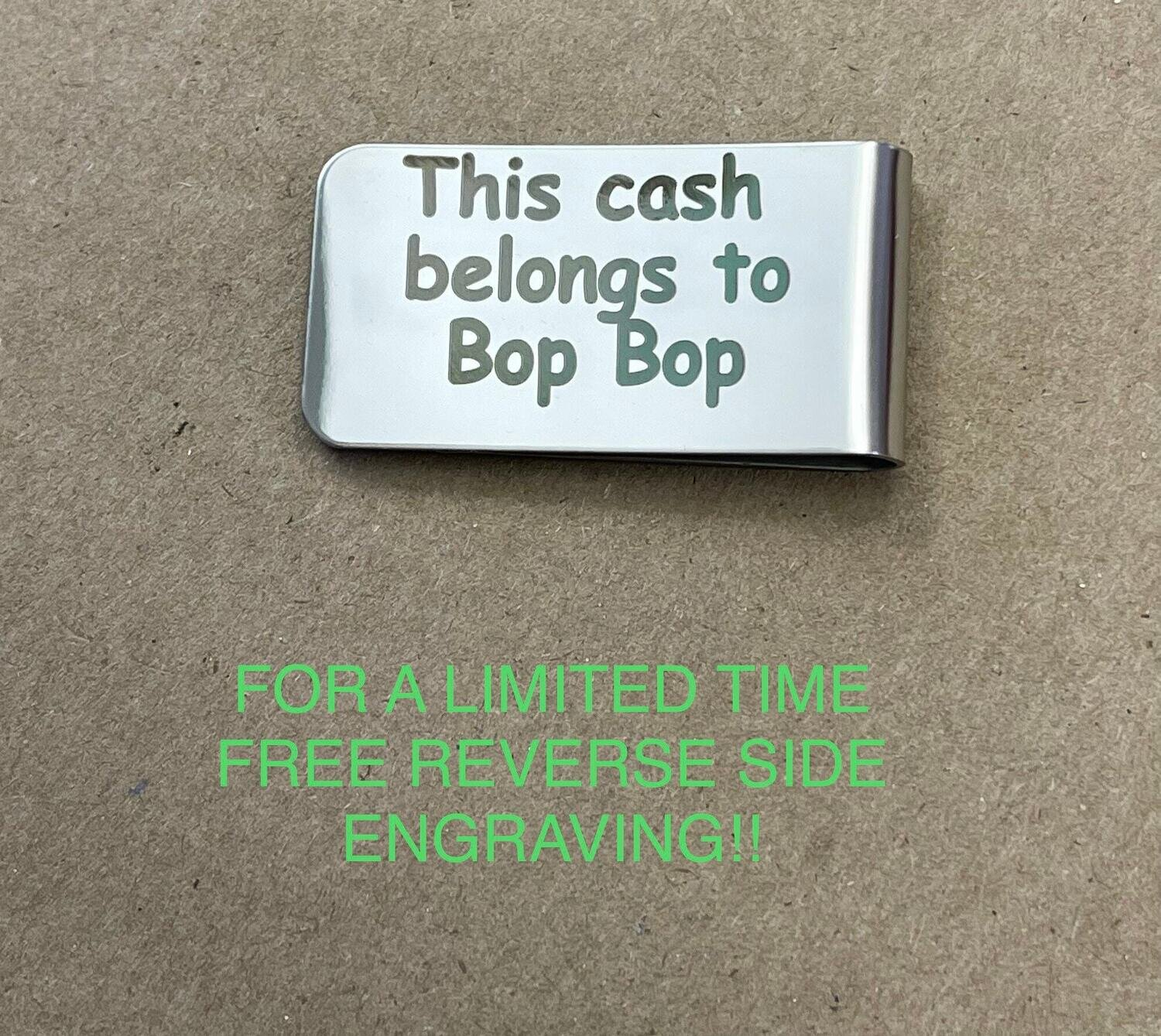 Laser Engraved Money Clip, Double Side Engraving!