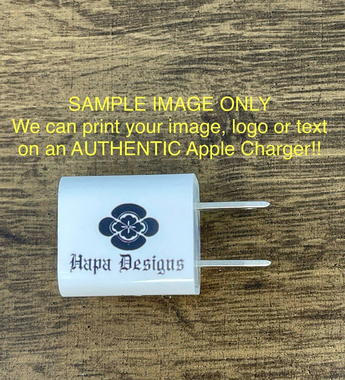 Custom Photo Logo Phone Charger - Personalized Photo Charger - Custom Phone Accessories - Genuine Apple !
