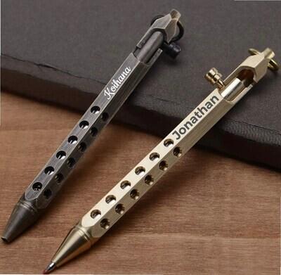 Handmade Custom Laser Engraved Brass EDC Tactical Bolt Action Rollerball - Brass or Gunmetal