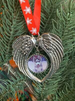 Angel Wings Photo Ornament, Back Engraving Available